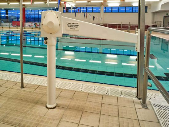 disabled hoist at the side of the main swimming pool